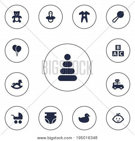 Set Of 13 Child Icons Set.Collection Of Smock, Pram, Bus And Other Elements.