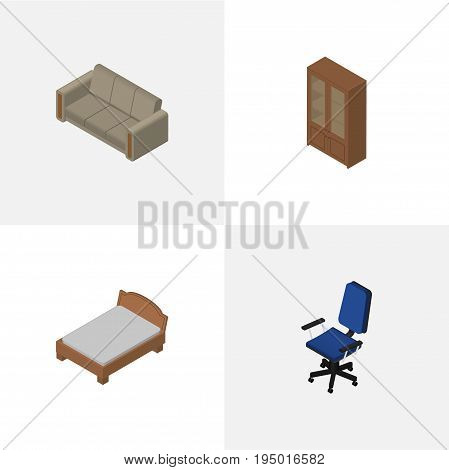 Isometric Furniture Set Of Couch, Bedstead, Office And Other Vector Objects. Also Includes Locker, Cabinet, Couch Elements.
