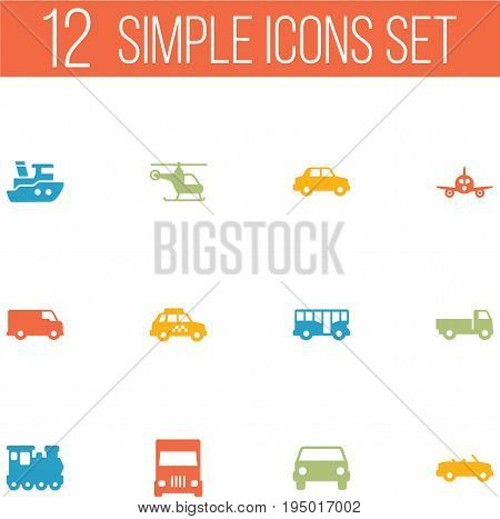 Set Of 12 Traffic Icons Set.Collection Of Copter, Side View, Car And Other Elements.