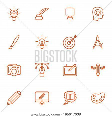 Set Of 16 Creative Outline Icons Set.Collection Of Paintbrush, Bezier Curve, Knowledge And Other Elements.