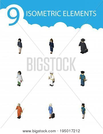 Isometric Human Set Of Seaman, Hostess, Cleaner And Other Vector Objects. Also Includes Lady, Girl, Businesswoman Elements.