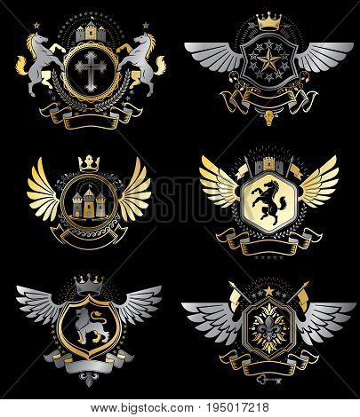 Vintage heraldry design templates vector emblems created with bird wings crowns stars armory and animal illustrations. Collection of vintage style symbols.