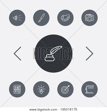 Set Of 9 Creative Outline Icons Set.Collection Of Palette, Drawing Tools, Paintbrush And Other Elements.