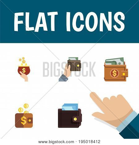 Flat Icon Purse Set Of Money, Payment, Billfold And Other Vector Objects. Also Includes Pouch, Billfold, Currency Elements.