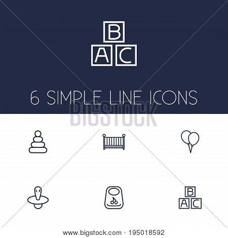 Set Of 6 Baby Outline Icons Set.Collection Of Pyramid, Balloon, Nipple And Other Elements.