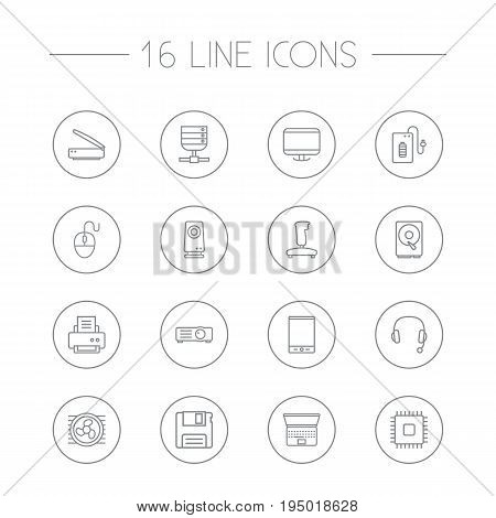 Set Of 16 Laptop Outline Icons Set.Collection Of Hdd, Gamepad, Tablet And Other Elements.