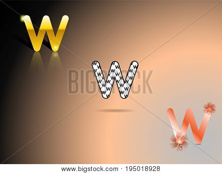 Gold, black and white, orange colors with the letter W in gray-pink-black background