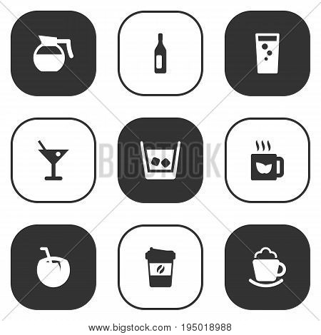 Set Of 9 Beverages Icons Set.Collection Of Cognac, Martini, Teapot And Other Elements.