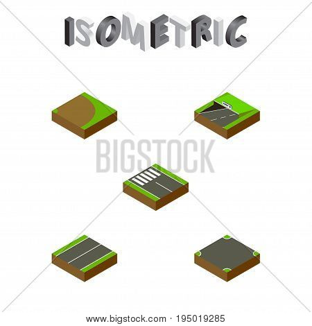 Isometric Road Set Of Plane, Rotation, Subway And Other Vector Objects. Also Includes Pedestrian, Intersection, Underground Elements.