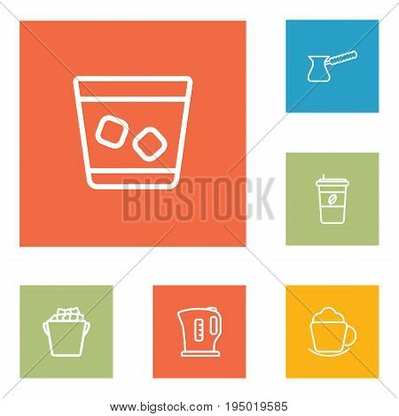 Set Of 6 Drinks Outline Icons Set.Collection Of Kettle, Ice Bucket, Coffee And Other Elements.