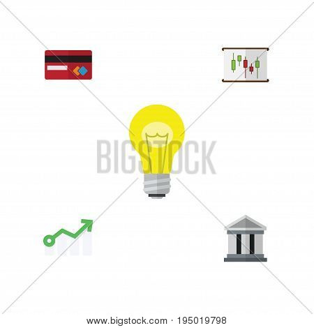 Flat Icon Incoming Set Of Bank, Growth, Diagram And Other Vector Objects. Also Includes Building, Architecture, Bulb Elements.