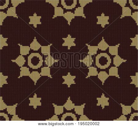 Halftone Colorful Seamless Retro Pattern Vermillion Star Round Flower