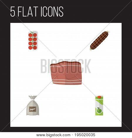 Flat Icon Food Set Of Beef, Tomato, Packet Beverage And Other Vector Objects. Also Includes Sugar, Bratwurst, Sausage Elements.