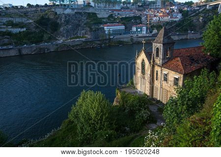 Abandoned chapel in old Porto downtown, Portugal. Ancient ruins of Europe.