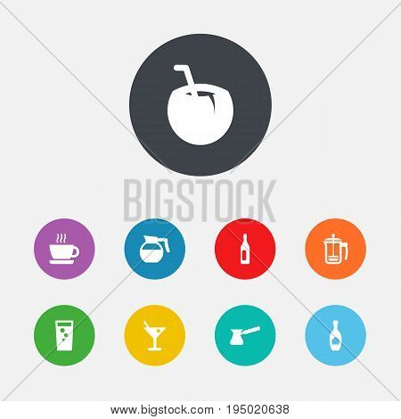 Set Of 9 Drinks Icons Set.Collection Of Alcohol, Soda, Teapot And Other Elements.
