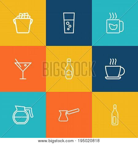 Set Of 9 Beverages Outline Icons Set.Collection Of Ice Bucket, Bottle, Coffeepot And Other Elements.