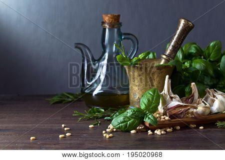 Ingredients For Making Pesto Sauce .