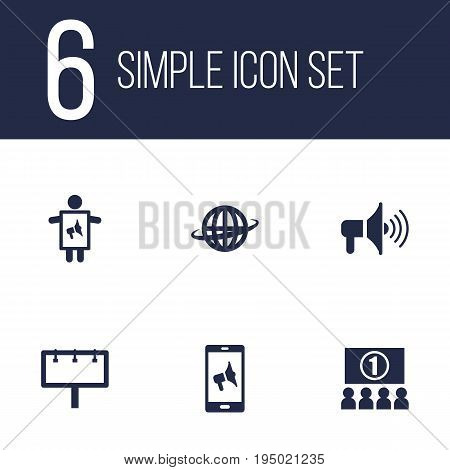 Set Of 6 Trade Icons Set.Collection Of Application, World, Placard And Other Elements.