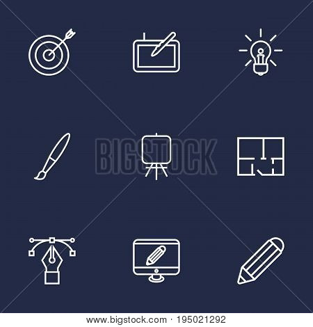 Set Of 9 Creative Outline Icons Set.Collection Of Property Plan, Bezier Curve, Idea And Other Elements.