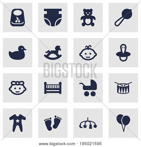 Set Of 16 Kid Icons Set.Collection Of Smock, Cot, Maraca And Other Elements.