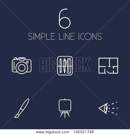 Set Of 6 Creative Outline Icons Set.Collection Of Property Plan, Easel, Drawing Tools And Other Elements.