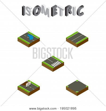 Isometric Road Set Of Plash, Plane, Pedestrian And Other Vector Objects. Also Includes Under, Puddle, Road Elements.
