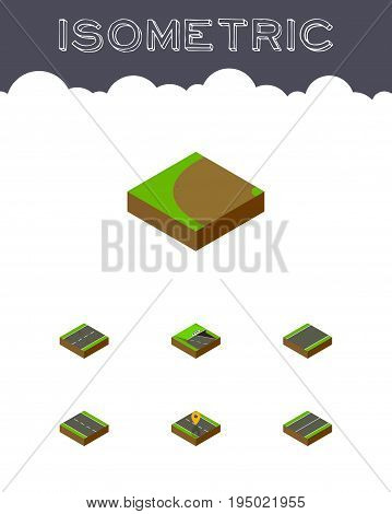 Isometric Way Set Of Single-Lane, Cracks, Underground And Other Vector Objects. Also Includes Underground, Lane, Turning Elements.