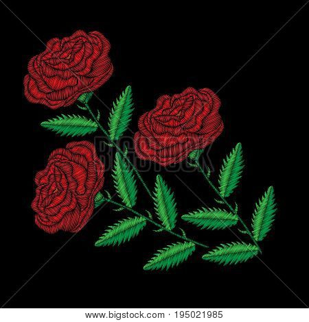 Embroidery stitches imitation red rose. Fashion embroidery rose flower on black background. Embroidery big roses vector.