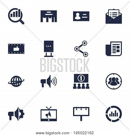 Set Of 16 Trade Icons Set.Collection Of Auditorium, Market, Ads And Other Elements.