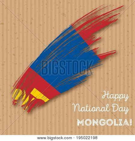 Mongolia Independence Day Patriotic Design. Expressive Brush Stroke In National Flag Colors On Kraft