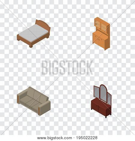 Isometric Furnishing Set Of Couch, Bedstead, Drawer And Other Vector Objects. Also Includes Settee, Cupboard, Furniture Elements.