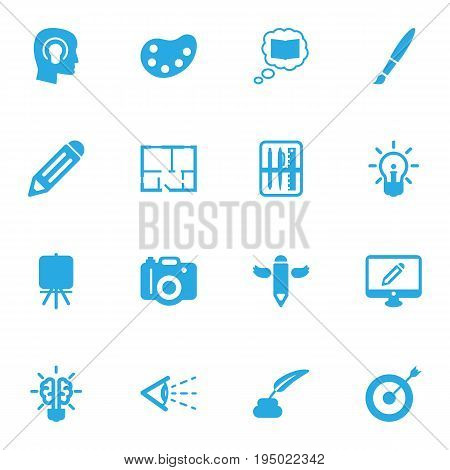 Set Of 16 Creative Icons Set.Collection Of Concept, Brush, Case And Other Elements.