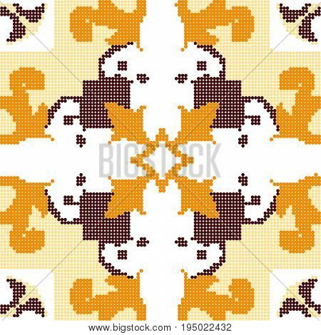 Halftone Colorful Seamless Retro Pattern Yellow Flower Vine Cross Spiral Vine