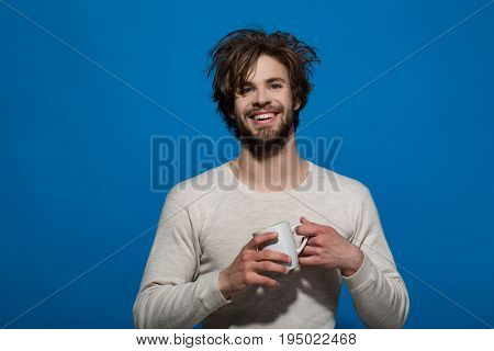 Happy Man With Cup Of Tea Or Coffee