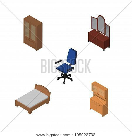 Isometric Furnishing Set Of Office, Drawer, Cupboard And Other Vector Objects. Also Includes Bed, Cupboard, Chair Elements.