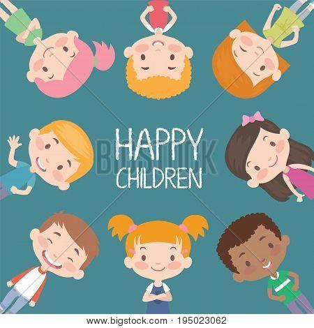 Vector Illustration of Happy Childern having Fun