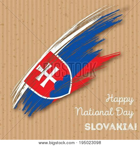 Slovakia Independence Day Patriotic Design. Expressive Brush Stroke In National Flag Colors On Kraft