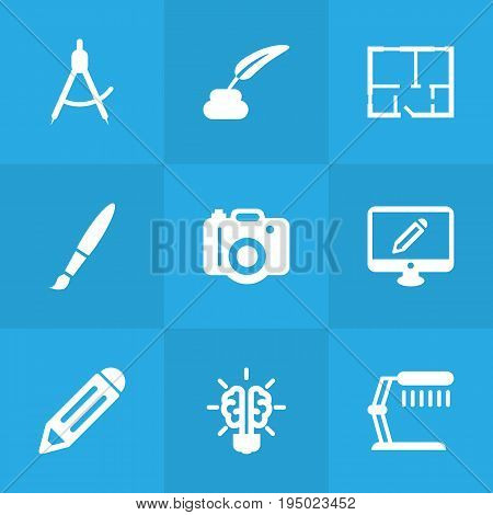 Set Of 9 Creative Icons Set.Collection Of Scheme, Bulb, Compass And Other Elements.
