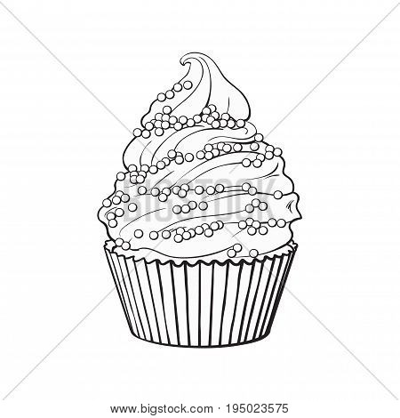 black and white hand drawn cupcake with perfect cream swirls and sprinkles, sketch style vector illustration isolated on white background. Realistic hand drawing of cupcake with cream and sprinkles