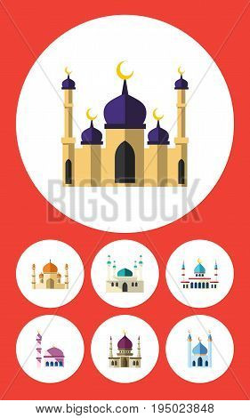 Flat Icon Mosque Set Of Architecture, Islam, Traditional And Other Vector Objects. Also Includes Mohammedanism, Muslim, Mosque Elements.