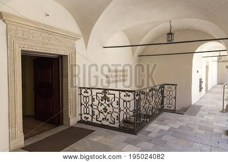 PIESKOWA SKALA POLAND - MAY 19 2017: 14th century defense Castle Pieskowa Skala arcade courtyard near Krakow Poland. Located in Ojcowski National Park is one of the best-known examples of a defensive Polish Renaissance architecture