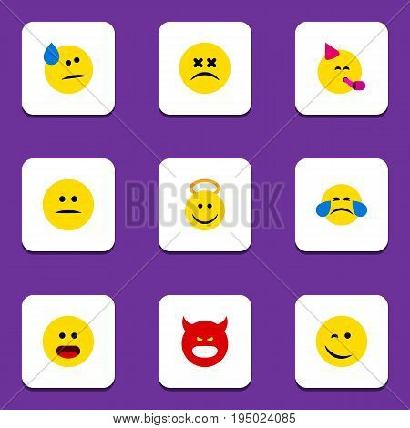 Flat Icon Face Set Of Angel, Winking, Tears And Other Vector Objects. Also Includes Angel, Sad, Happy Elements.