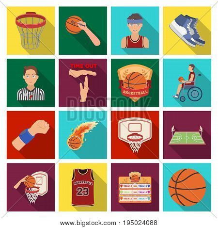 Ball, game, sport, fitness and other icons of basketball. Basketball set collection icons in flat style vector symbol stock illustration.