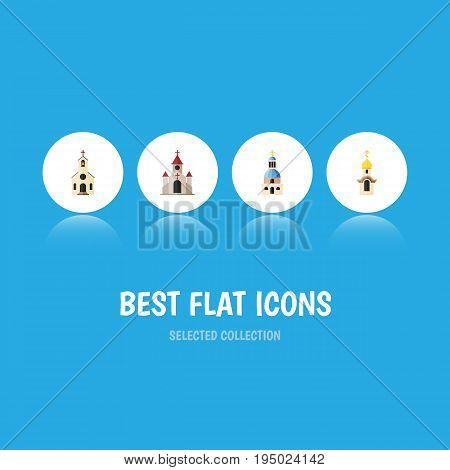 Flat Icon Christian Set Of Building, Traditional, Church And Other Vector Objects. Also Includes Building, Catholic, Traditional Elements.