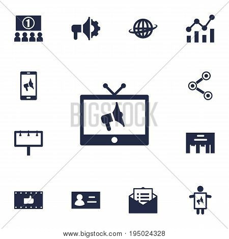 Set Of 13 Trade Icons Set.Collection Of Loudspeaker, Placard, Statistics And Other Elements.