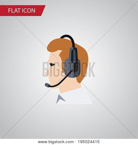 Isolated Online Support Flat Icon. Telemarketing Vector Element Can Be Used For Telemarketing, Online, Support Design Concept.