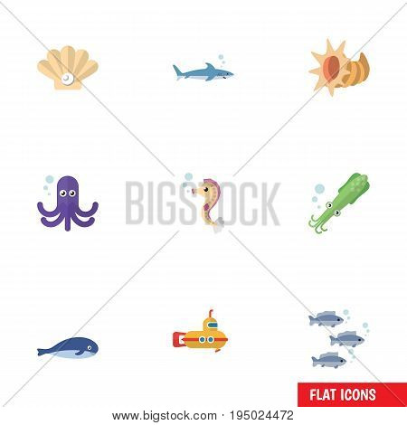 Flat Icon Marine Set Of Tuna, Hippocampus, Conch And Other Vector Objects. Also Includes Periscope, Hippocampus, Whale Elements.