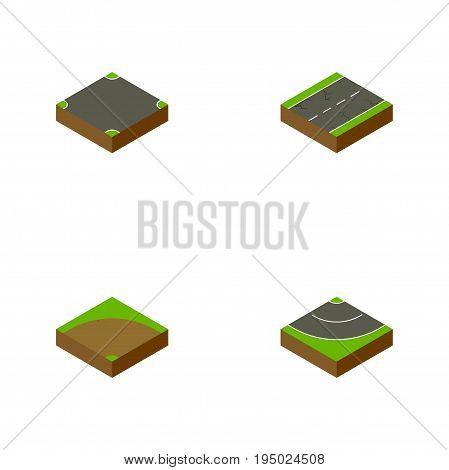 Isometric Road Set Of Sand, Cracks, Road Vector Objects. Also Includes Turn, Crossroad, Intersection Elements.