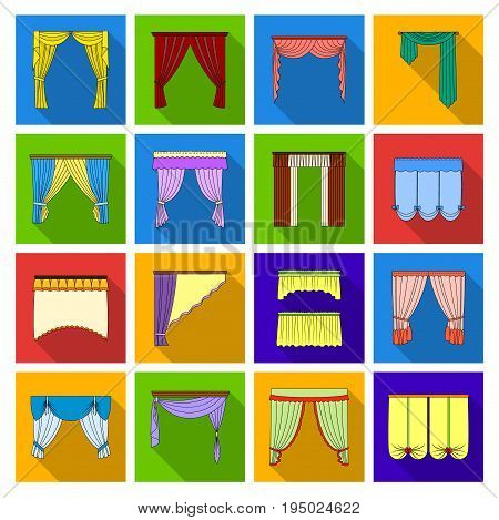 Fabric, textiles, interior and other curtains elements. Curtains set collection icons in flat style vector symbol stock illustration.