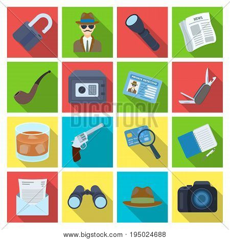 Pistol, tube, identification, magnifier and other attributes. Detective set collection icons in flat style vector symbol stock illustration .